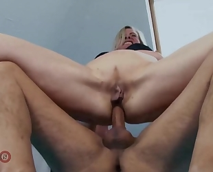 German MILF with natural boobs gets her butthole fucked hard