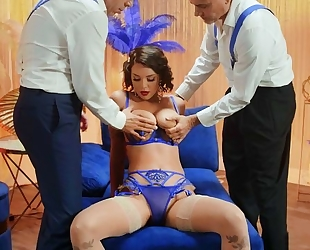 Big-titted dancer in stockings fucked hard by two horny club owners