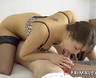 Gorgeous brunette in stockings takes BF's cock in both holes