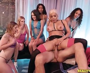 Slutty latina pleasuring perverted old man while het employees watching