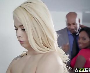 Petite golden-haired elsa jean hawt trio interracial fuck