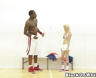 Bbc loving cheerleader railed by dark chap