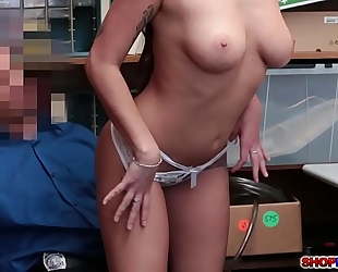 Brunette shoplifter karlee grey bangs with the cop
