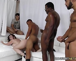 Sara jay acquires ganbanged by dark guys in front of her son