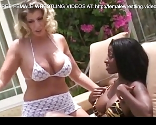 Interracial lesbo wrestling catfight