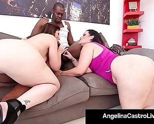 Cuban queen angelina castro & sara jay blow a large dark pecker