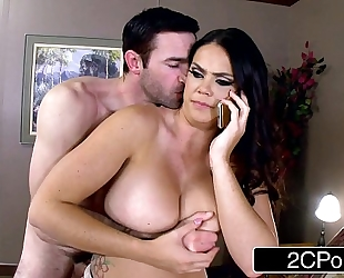 Lovely nympho alison tyler calls spouse during the time that giving oral to her paramour
