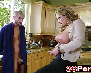 Horny large tit milf policeman eva notty arrests large rod man